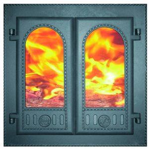 Чугунная каминная дверца со стеклом ДК-6С Завод ЛИТКОМ