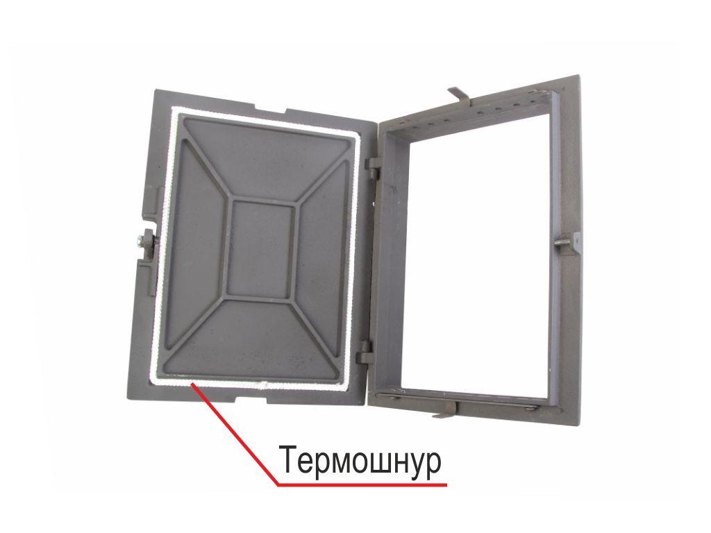 Дверка топочная герметичная ДТГ-4Г Завод ЛИТКОМ. Оборудована термошнуром по контуру крышки.