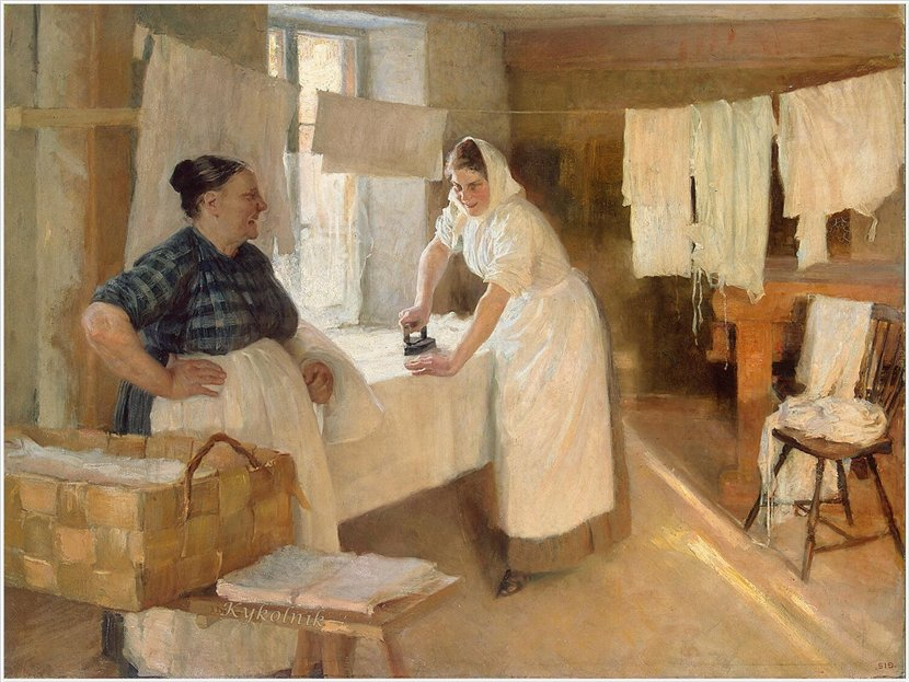 Картина Альберта Густава Аристида Эдельфельта – Прачки. 1889 год. На картине прачка с чугунным утюгом